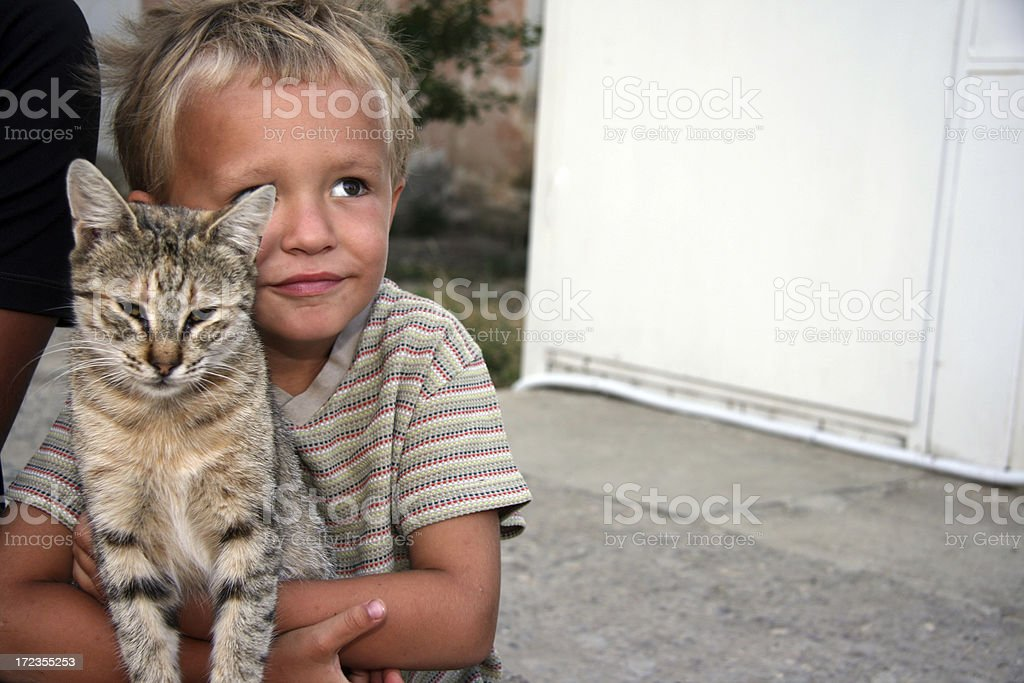 boy with a cat royalty-free stock photo