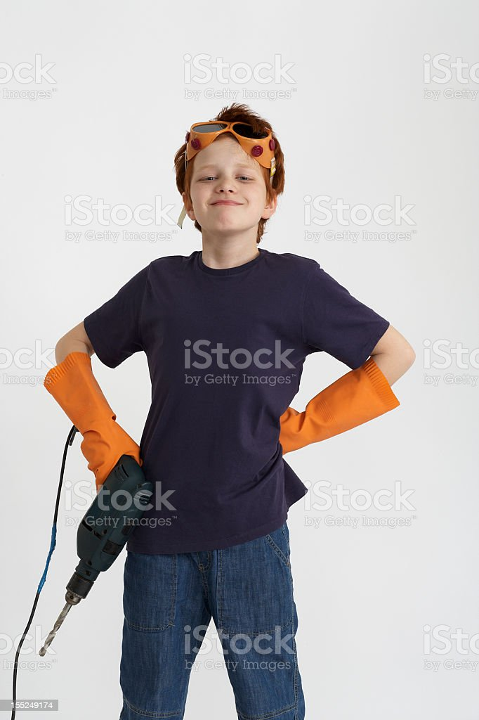 boy with a drill royalty-free stock photo