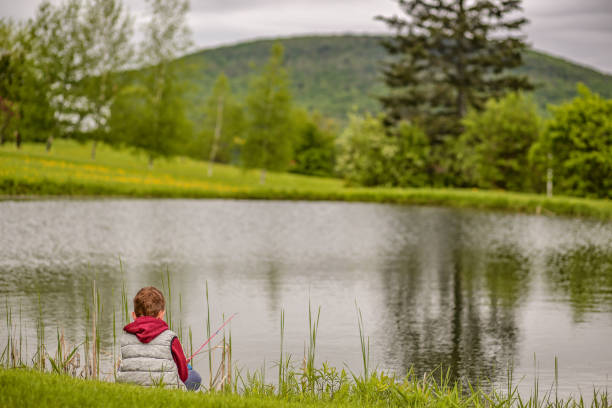 boy with a fishing rod sits on the shore of a mountain lake stock photo