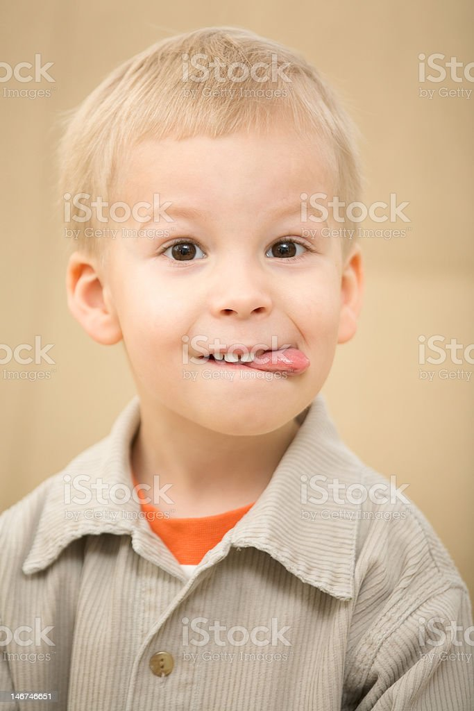 Boy with a funny face royalty-free stock photo