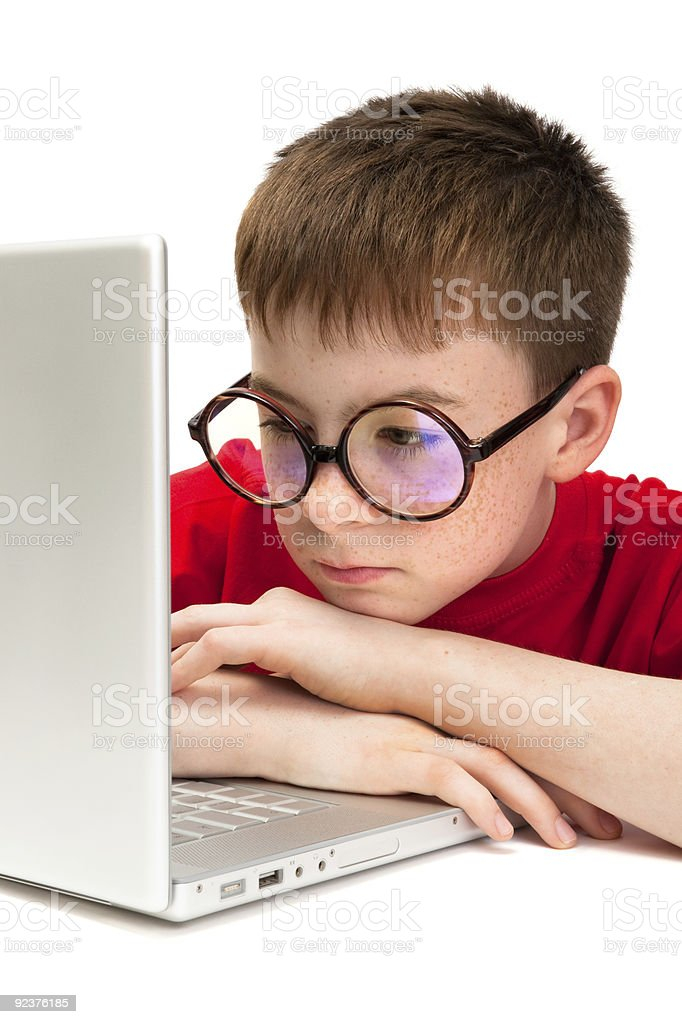 boy with a laptop royalty-free stock photo