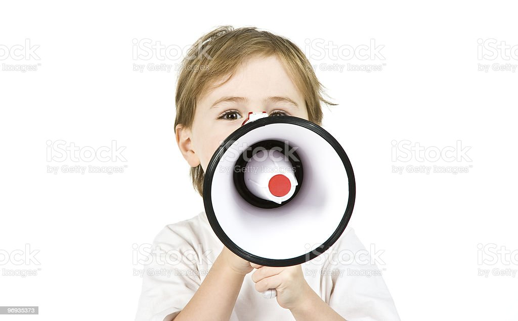 Boy with a megaphone royalty-free stock photo