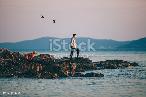 istock A boy with a protective medical mask, he enjoys sunset with his dog on a rocky shore. 1217031465
