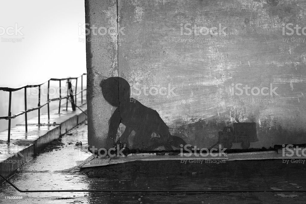 Boy with a toy truck graffiti royalty-free stock photo