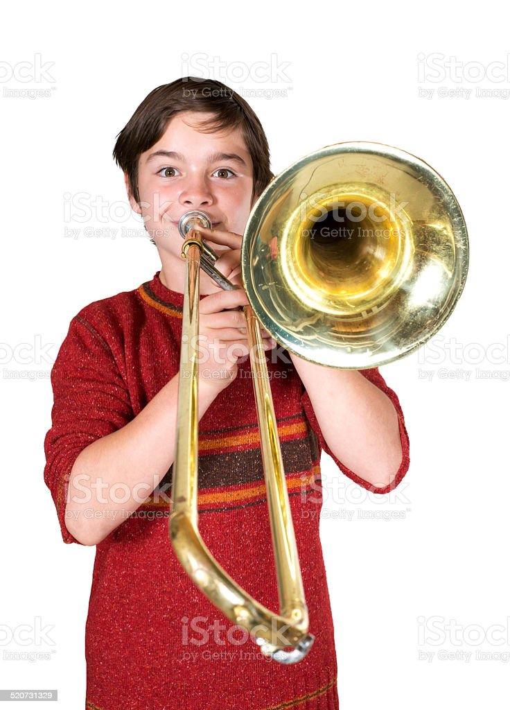 boy with a trombone stock photo
