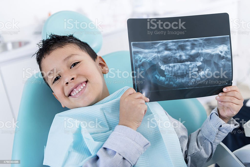 Boy with an x-ray stock photo