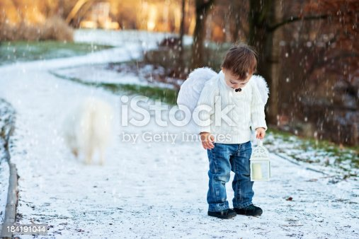 istock Boy with angel wings 184191044