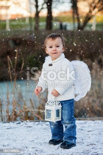 istock Boy with angel wings 184246830