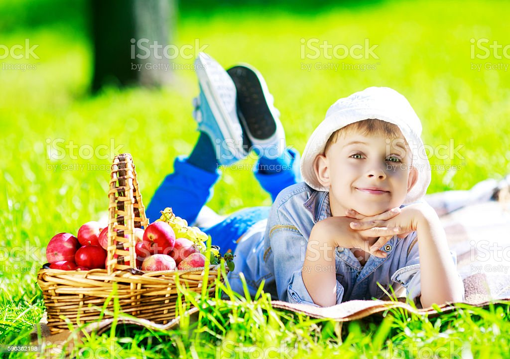 boy with apples outdoor royalty-free stock photo