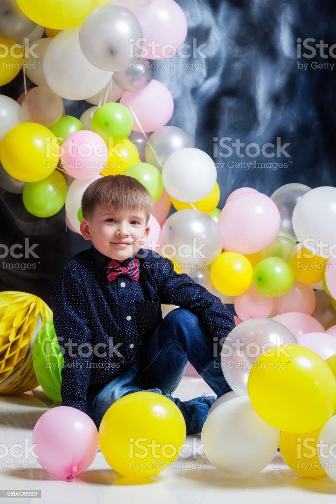 Boy  with balloons ロイヤリティフリーストックフォト