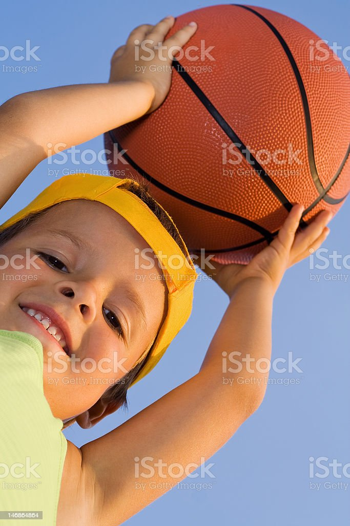 Boy with basket ball royalty-free stock photo