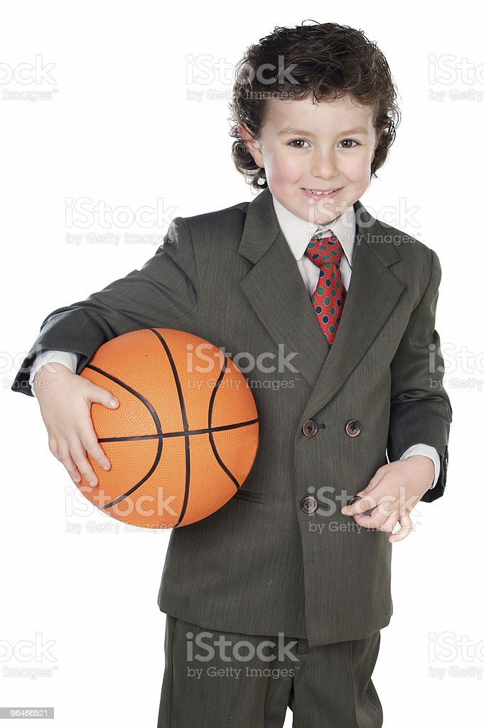 Boy with basketball ball royalty-free stock photo
