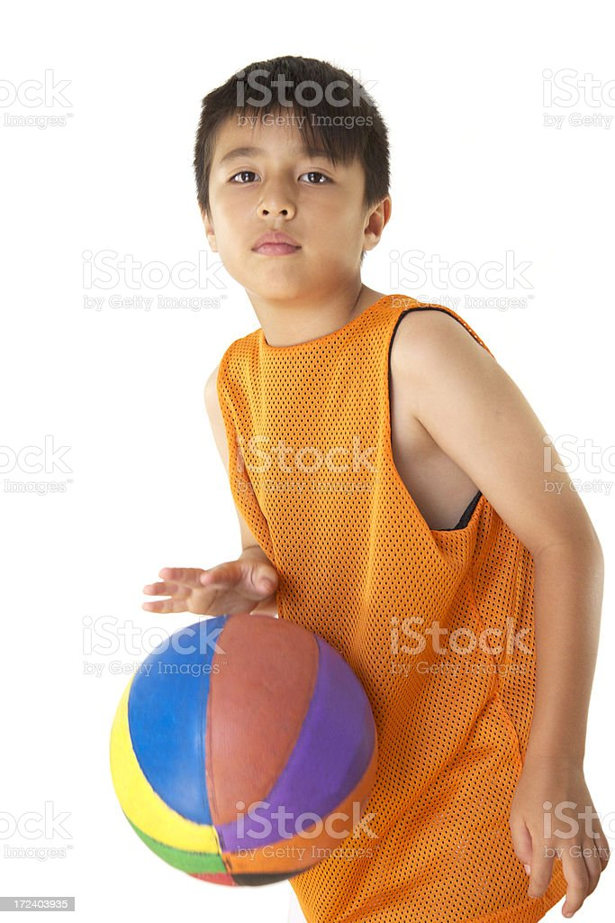 Boy with basketball royalty-free stock photo