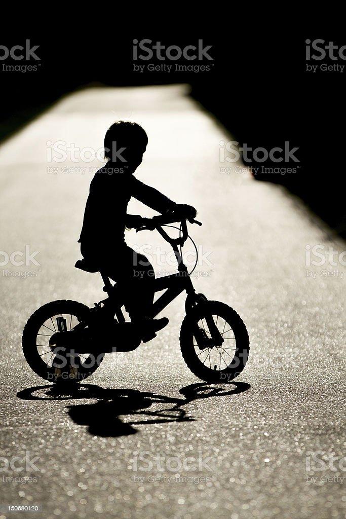 boy with bike stock photo