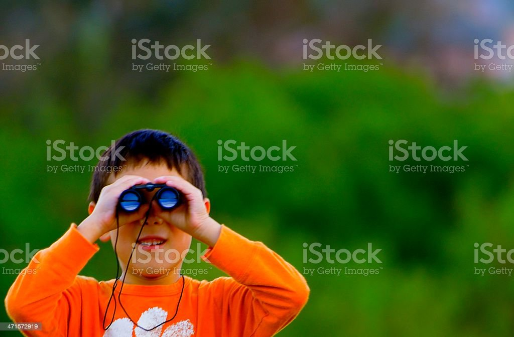 Boy with Binoculars stock photo