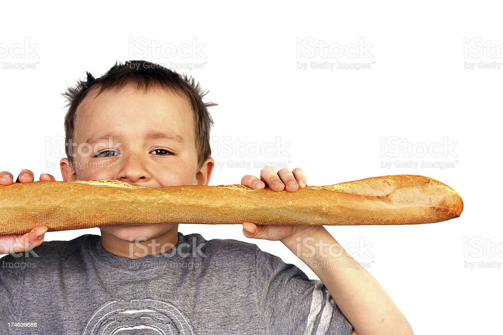 Boy with bread. royalty-free stock photo