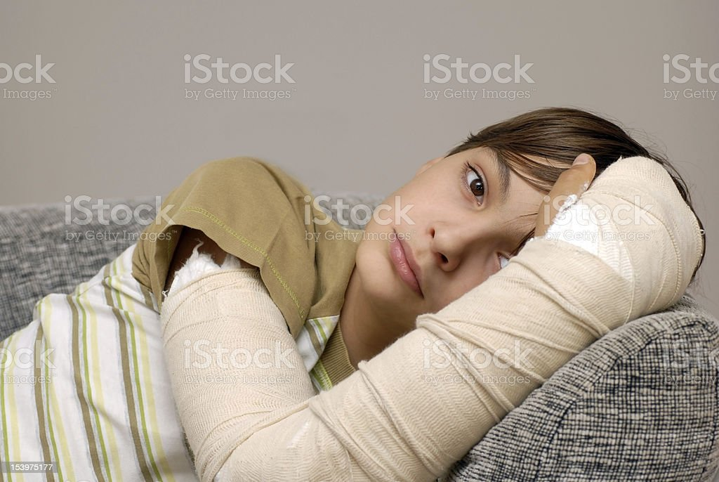 Boy with broken arm royalty-free stock photo