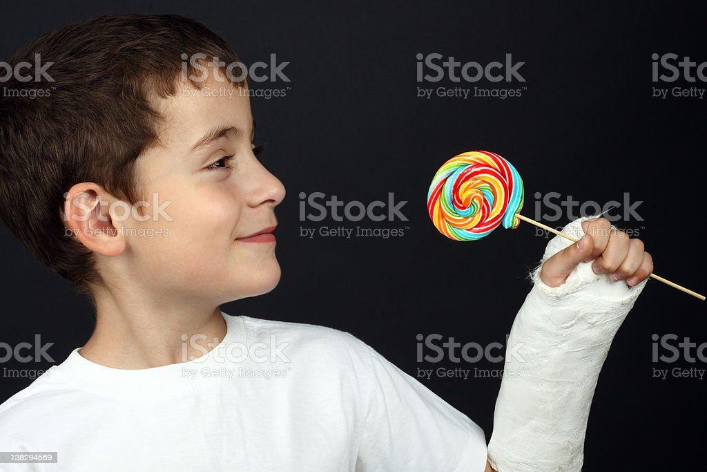 Boy with broken hand stock photo