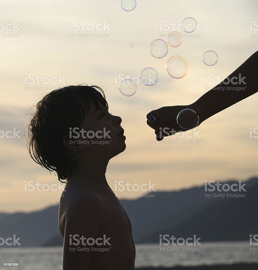 Boy with bubbles royalty-free stock photo
