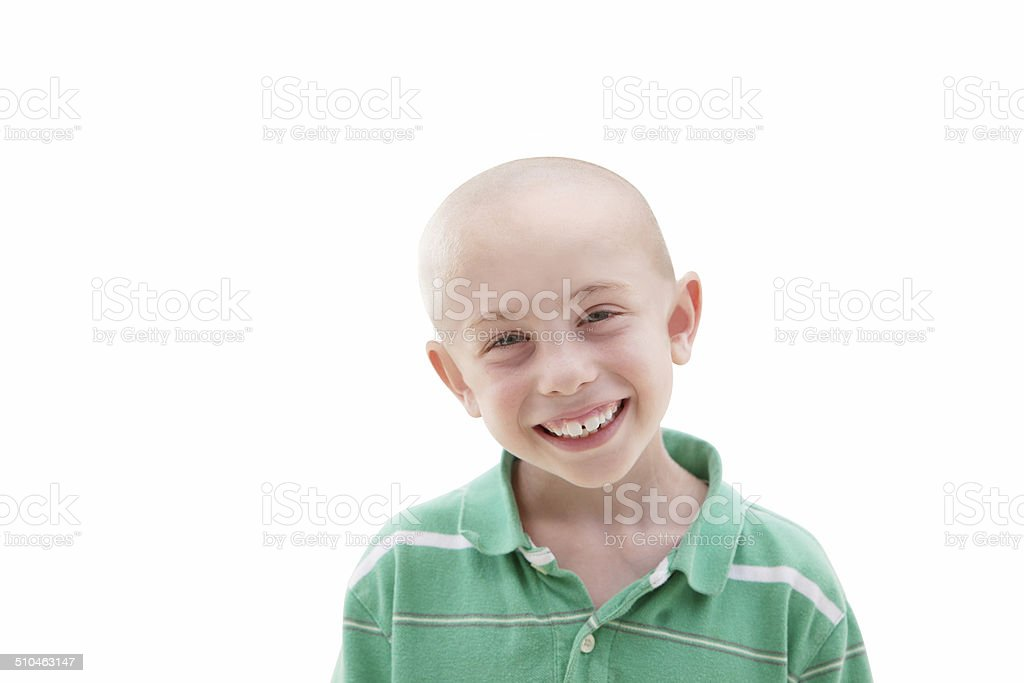 Boy with Cancer and Chemo on White Background stock photo