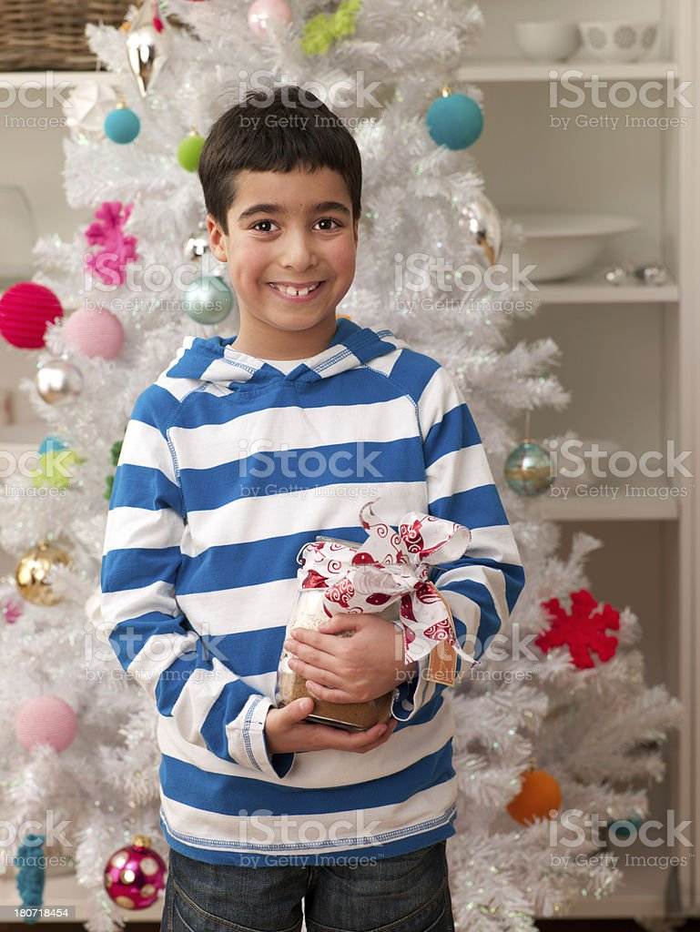 Boy with Christmas Present royalty-free stock photo