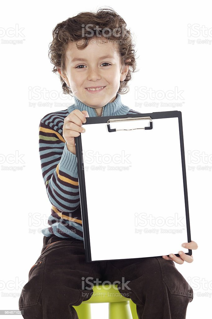 boy with clipboard royalty-free stock photo