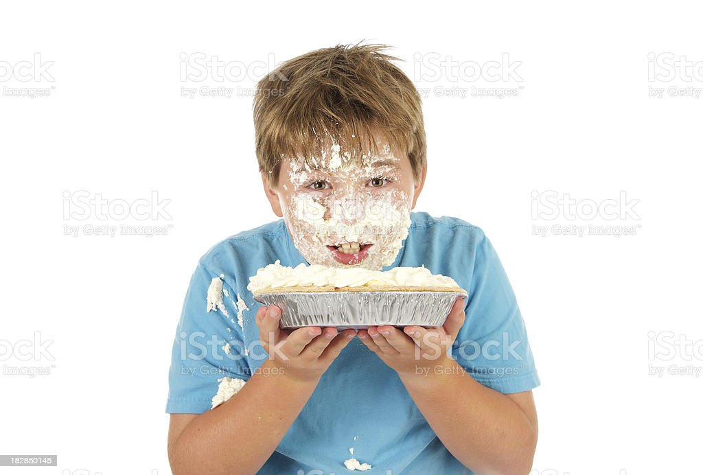 Boy with Coconut Cream Pie Series  Smashed in His Face stock photo