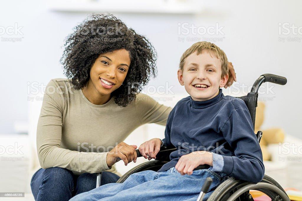 Boy with Developmental Disability stock photo