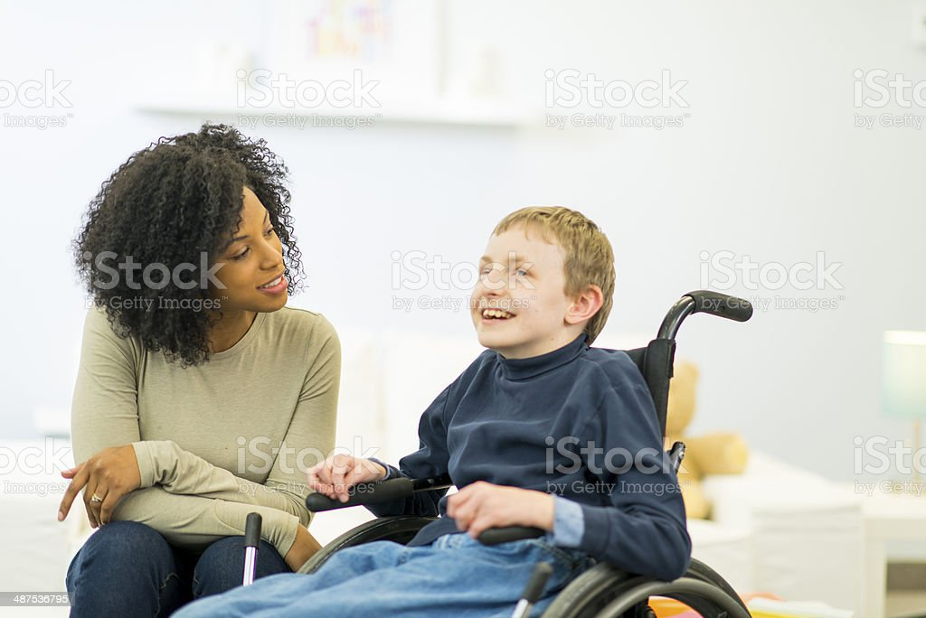 Boy with Disability stock photo