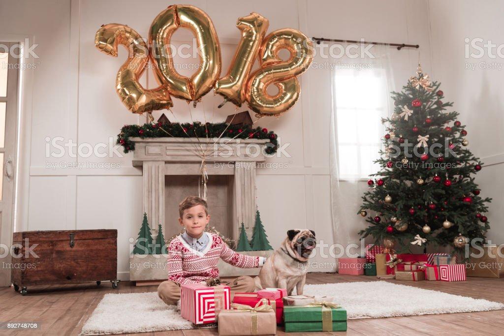 boy with dog on christmas stock photo
