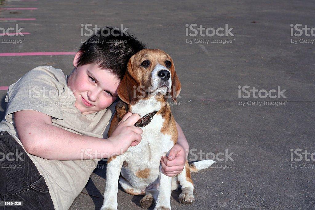 boy with  dog royalty-free stock photo