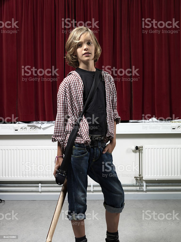Boy with electric guitar royalty-free stock photo