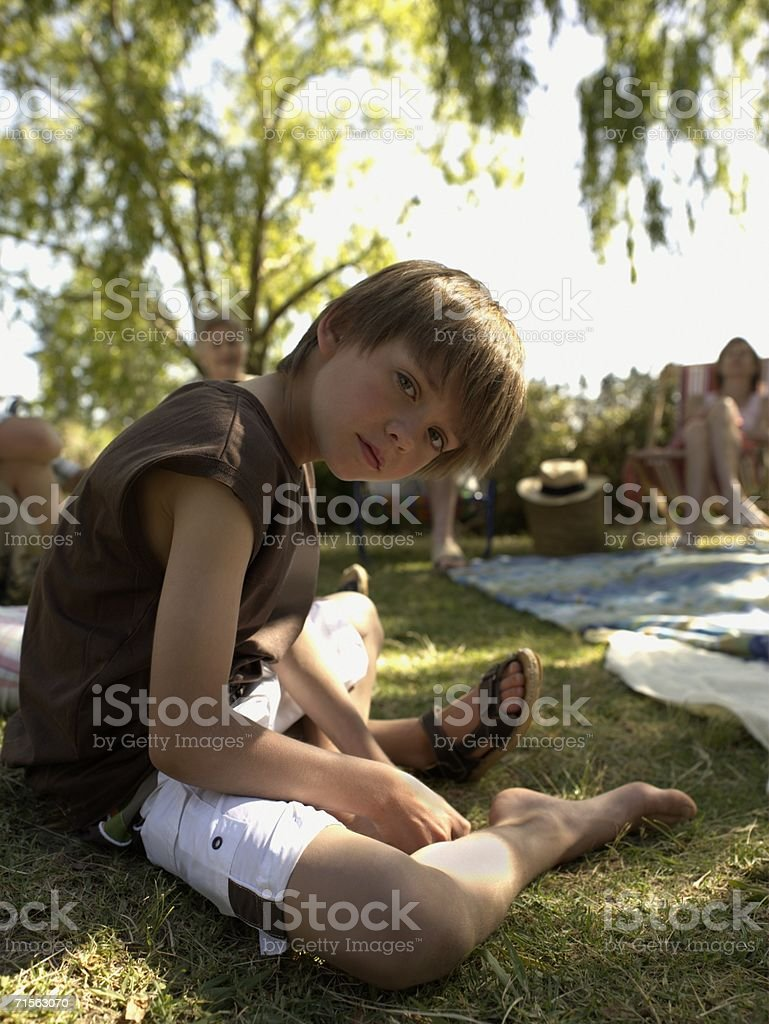 Boy with family royalty-free stock photo