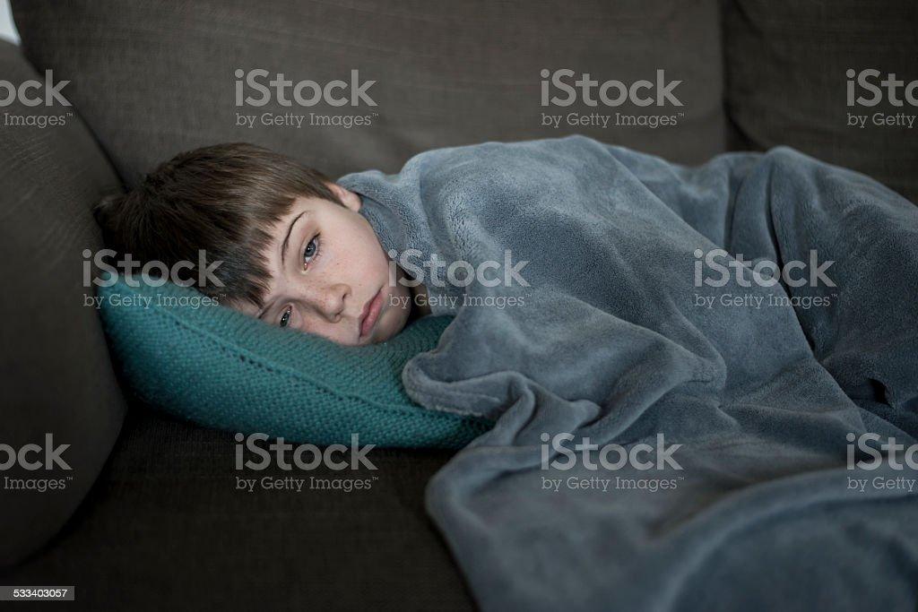 boy with flu stock photo