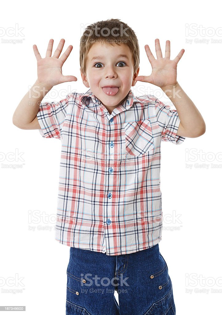 Boy with funny face stock photo