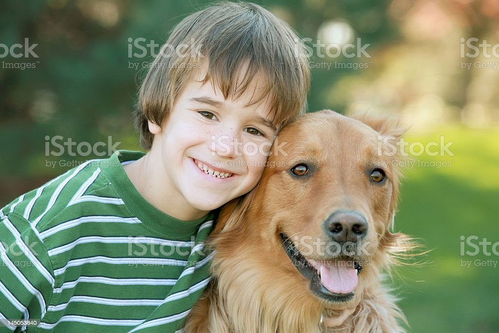Boy with Golden Retriever stock photo