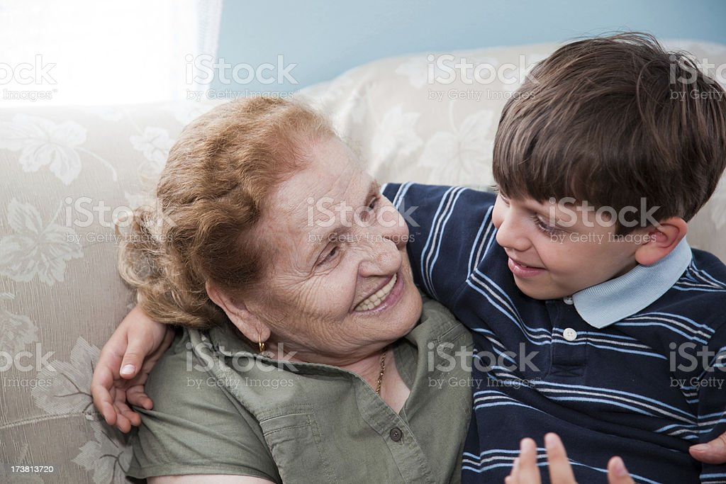 Boy With Grandma royalty-free stock photo