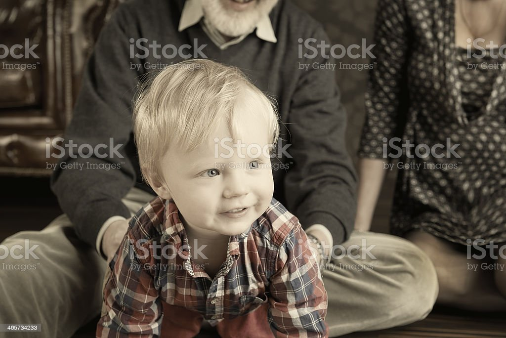 Boy with grandparents royalty-free stock photo