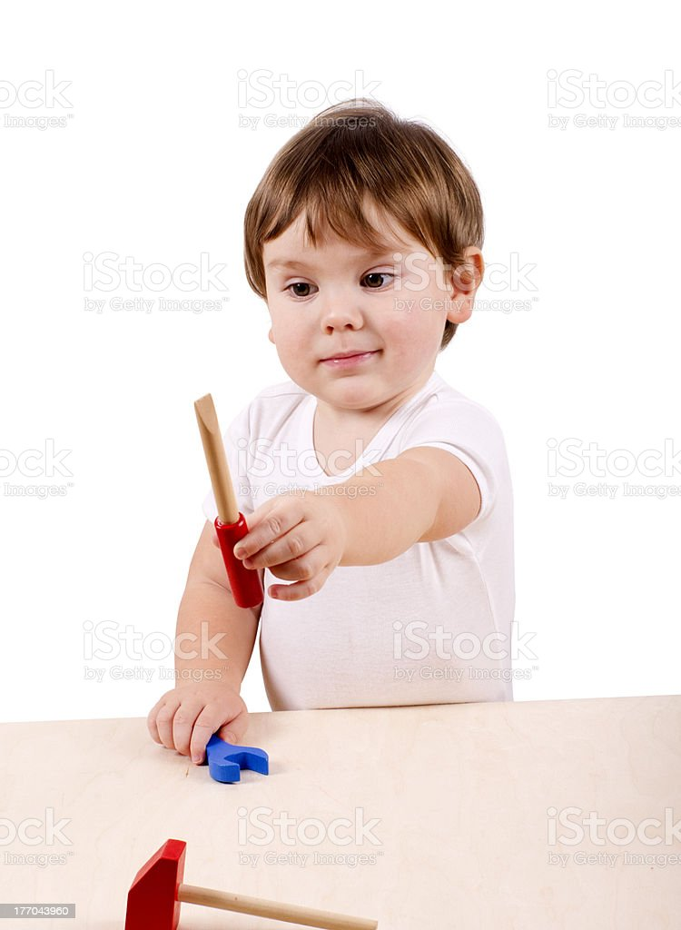Boy with hand-tools. royalty-free stock photo