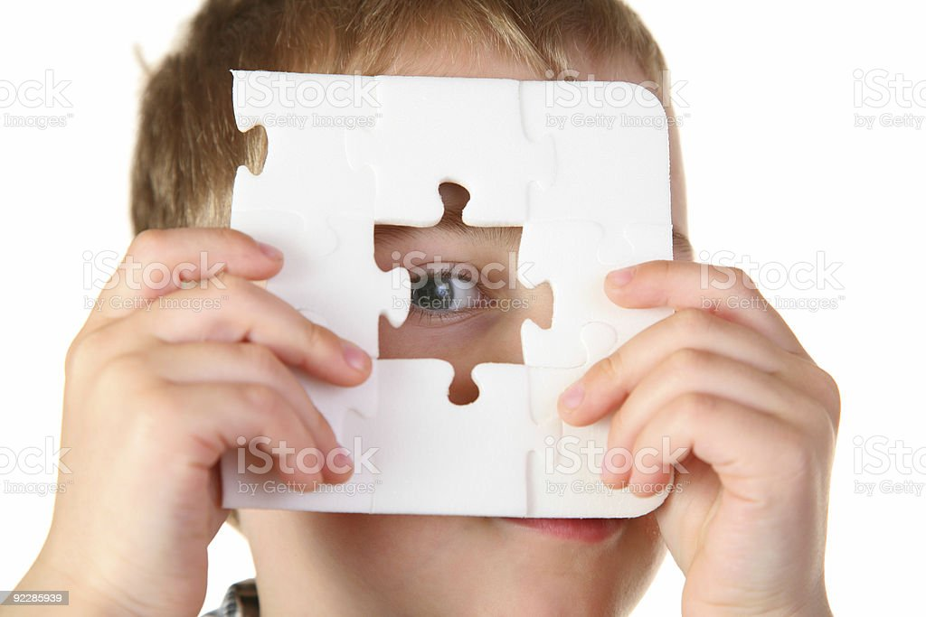 boy with hole puzzle royalty-free stock photo