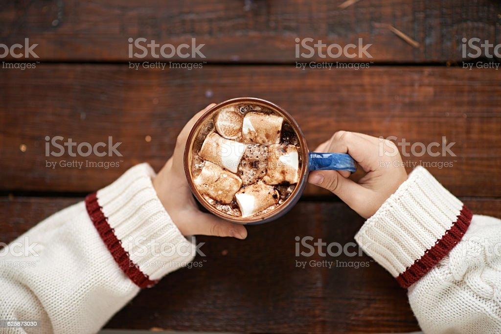 Boy with hot chocolate - foto de acervo