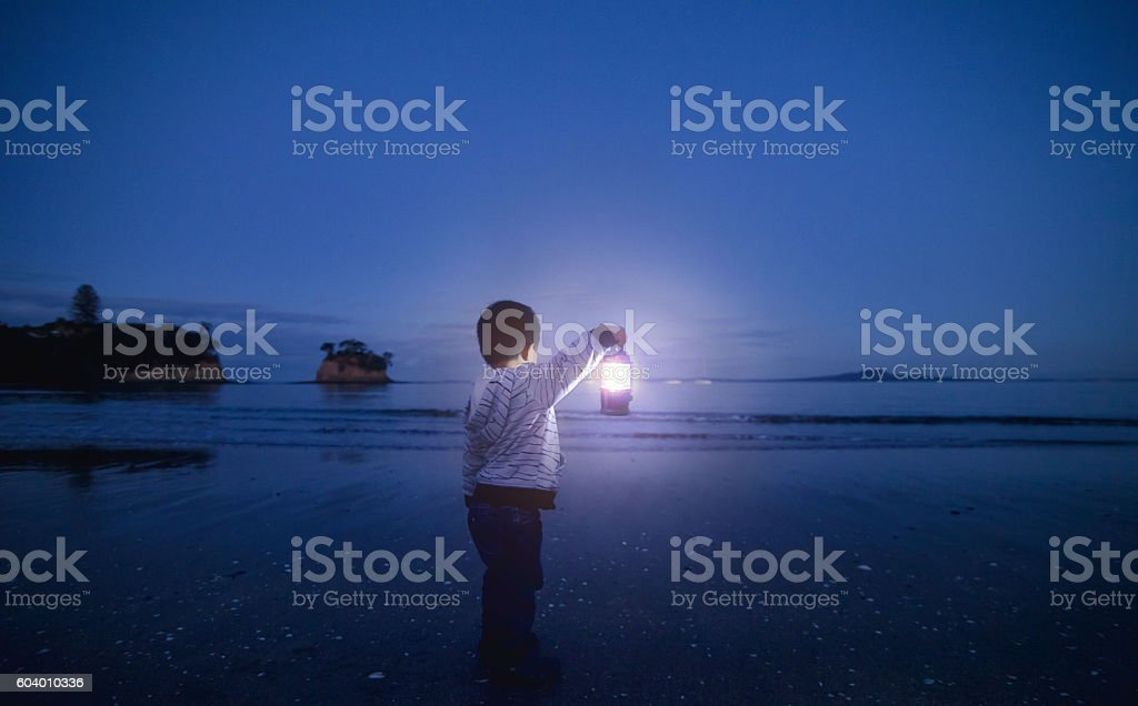 Boy with Lantern in his hand. stock photo
