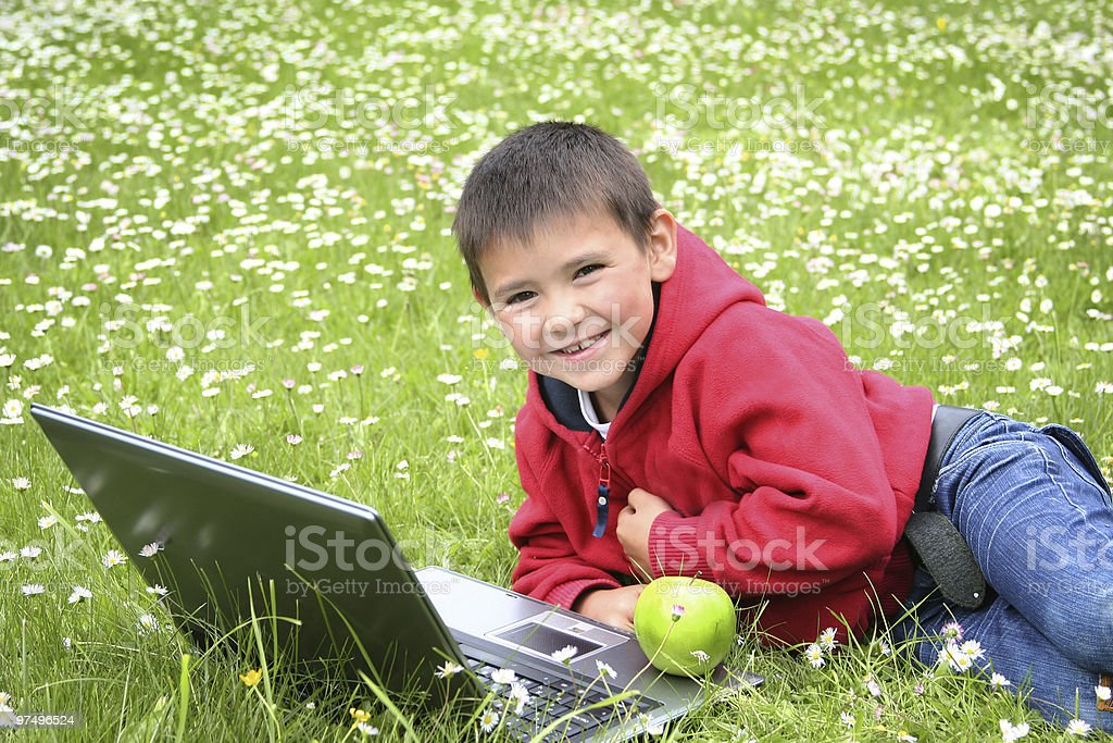 boy with laptop royalty-free stock photo