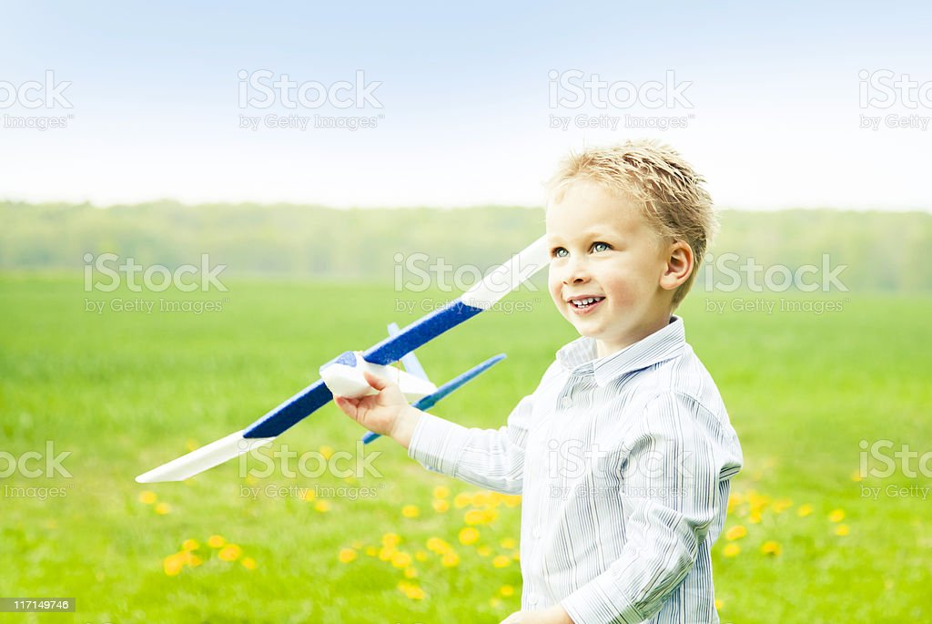 Boy with model air plane royalty-free stock photo
