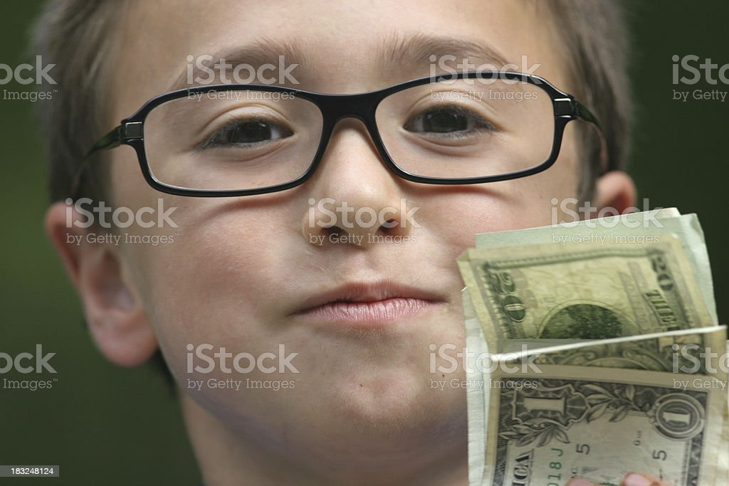 Boy with money royalty-free stock photo