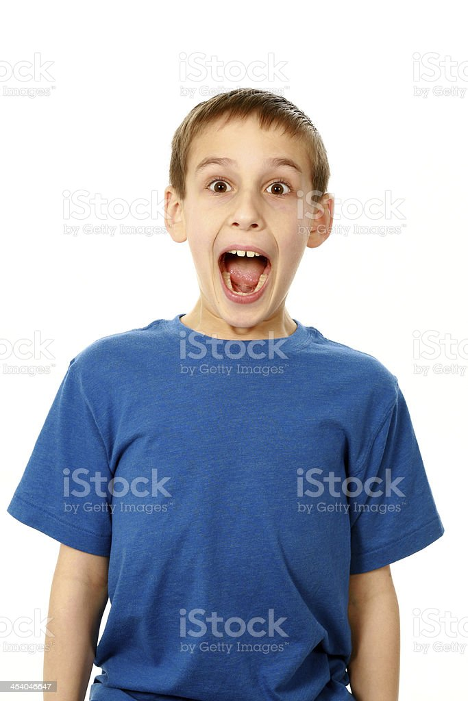 boy with mouth wide open stock photo