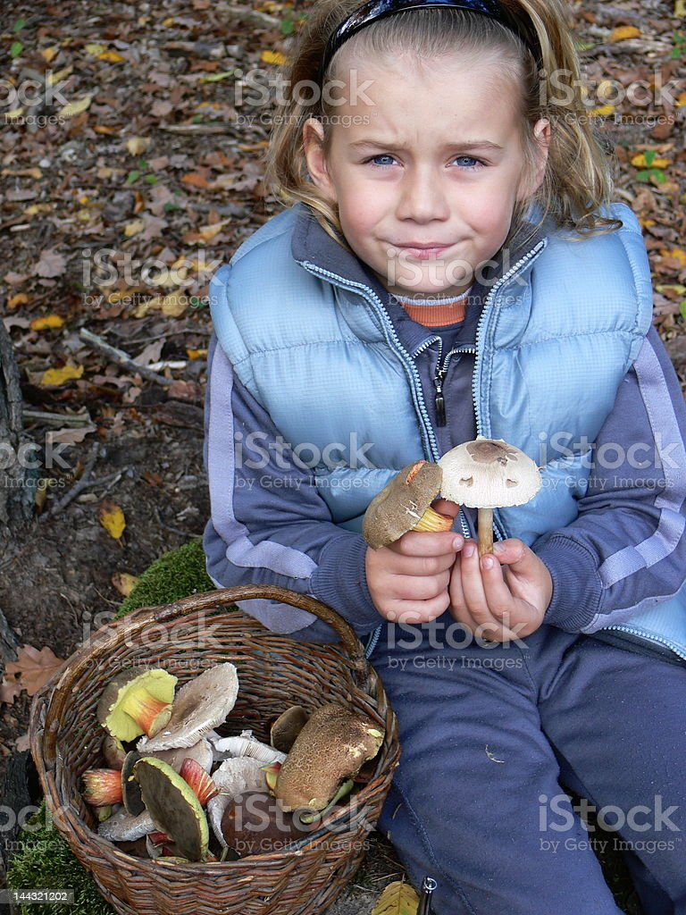 boy with mushrooms royalty-free stock photo