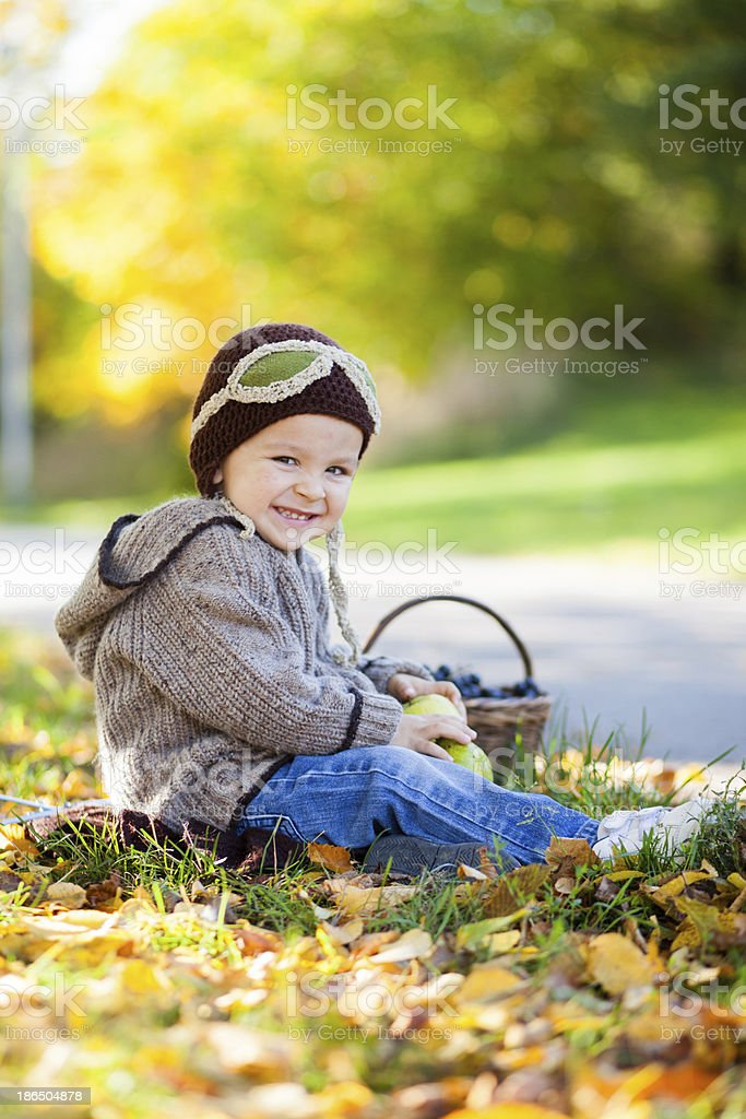 Boy with pears and basket of fruits royalty-free stock photo