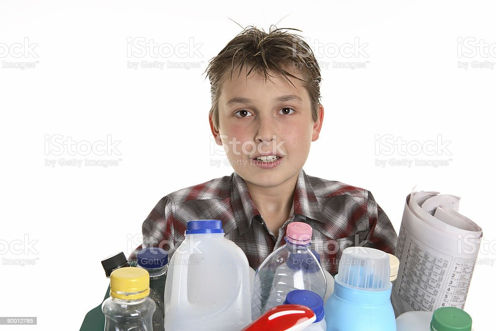 Boy with recycling royalty-free stock photo