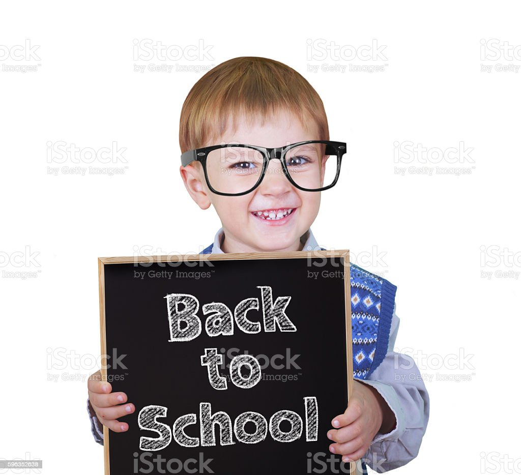Boy with small blackboard royalty-free stock photo
